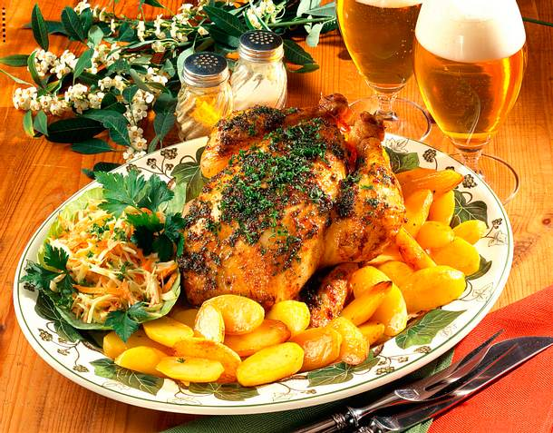 Honig-Senf-Hähnchen mit Röstkartoffeln Rezept