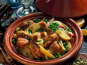 Hühner-Tajine mit Erbsen Rezept