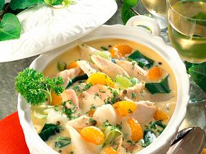 Hühnerfrikassee mit Mandarinen Rezept