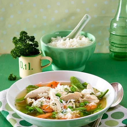 Hühnersuppe mit Reis Rezept