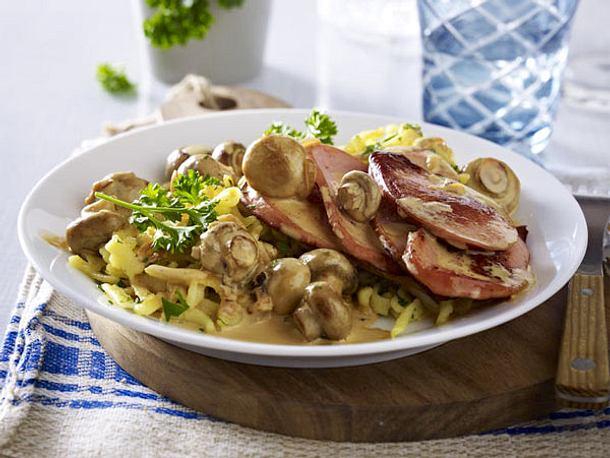 Jäger-Spätzle mit Fleischwurst Rezept