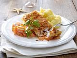 Kabeljau mit Rahmkarotten und Kartoffelpüree Rezept