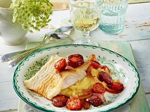 Kabeljau mit Tomate, Chorizo und roten Zwiebeln Rezept