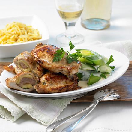 Käse-Mett-Koteletts mit Porree Rezept
