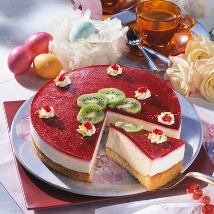 Käse-Sahne-Torte mit Himbeerspiegel (Diabetiker) Rezept