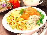 Käse-Schnitzel mit Gemüse-Bandnudeln Rezept