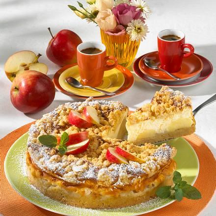 Käsekuchen mit Äpfeln und Streuseln Rezept