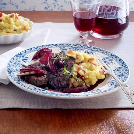 Kalbsleber mit Rotwein-Schalotten und Merrettich-Kartoffelpüree Rezept