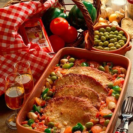 Kalbsschnitzel mit Sherrygemüse Rezept