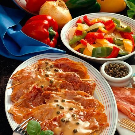 Kalbsschnitzel und Paprikagemüse Rezept