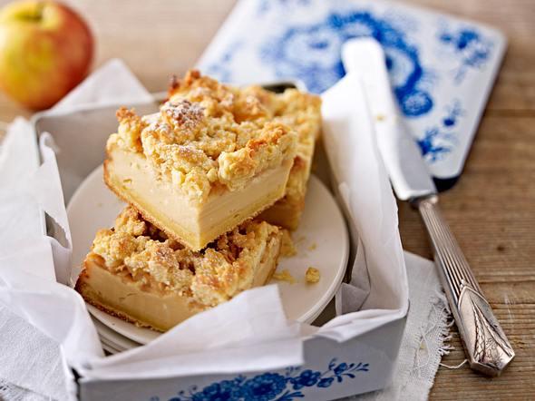 Karamell-Apfel-Käsekuchen mit Streuseln Rezept