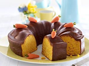 Karottenkuchen mit Schokoguss Rezept