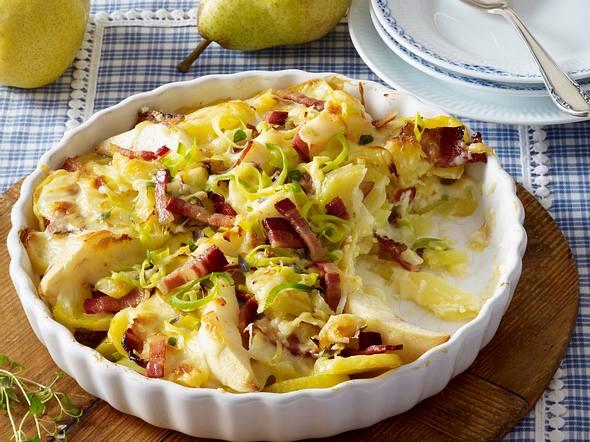 Kartoffel-Birnen-Auflauf mit Speck Rezept