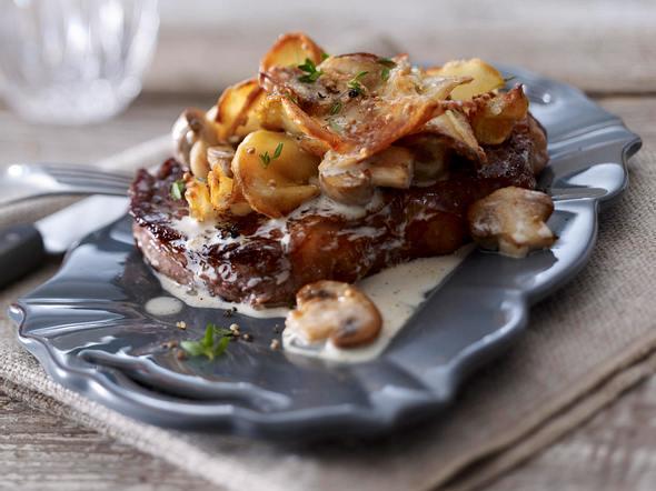 Kartoffel-Champignon-Gratin zu Rumpsteak Rezept