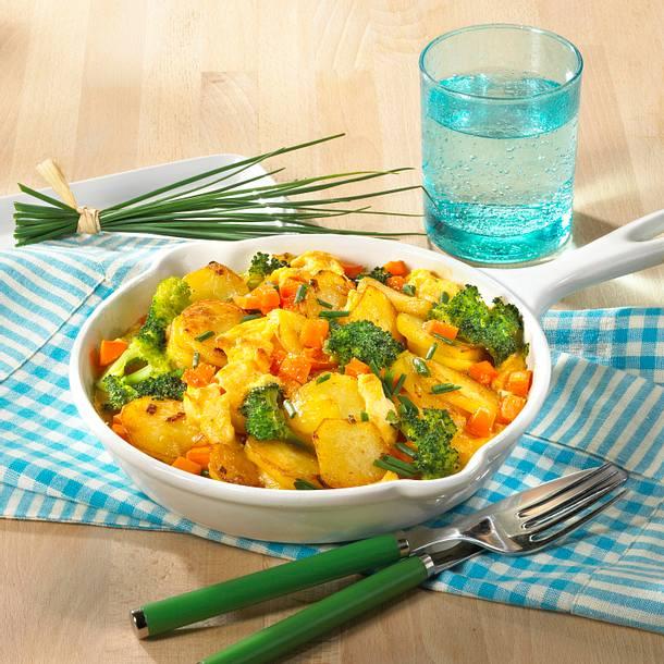 Kartoffel-Gemüse-Pfanne mit Rührei Rezept