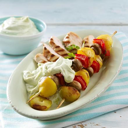 Kartoffel-Gemüse-Spieße mit Avocado-Dip Rezept