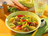 Kartoffel-Gemüse-Suppe mit Beefklößchen Rezept