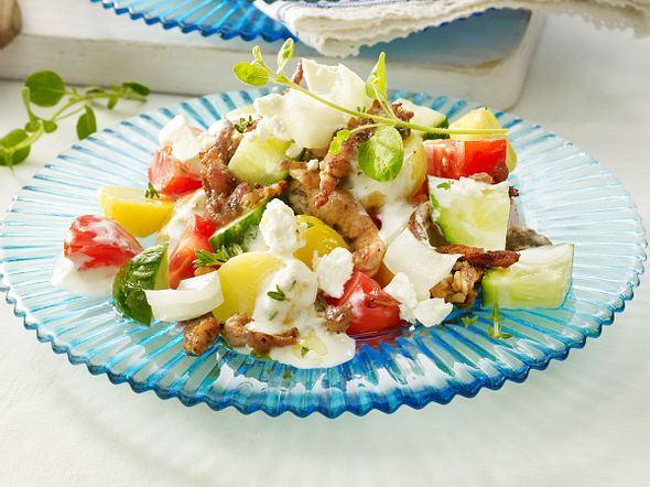 Kartoffel-Gyros-Salat mit Tzatziki-Dressing Rezept