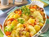 Kartoffel-Kohlrabi-Auflauf mit gekochtem Schinken Rezept
