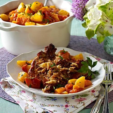 Kartoffel-Kürbis-Gulasch mit Röstzwiebelkoteletts Rezept