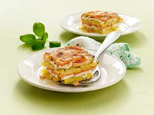 Kartoffel-Kürbis-Lasagne mit Hähnchenfilet Rezept