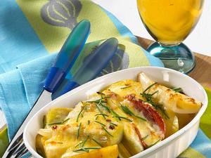 Kartoffel-Lauch-Gratin mit Schinken Rezept