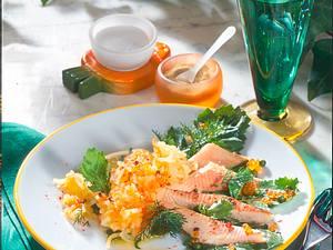 Kartoffel-Möhrenschnee mit Forellenfilets Rezept
