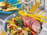 Kartoffel-Paprika-Salat mit Kasseler-Kotelett Rezept