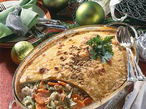 Kartoffel-Pastete mit Rahmgemüse & Nüssen Rezept