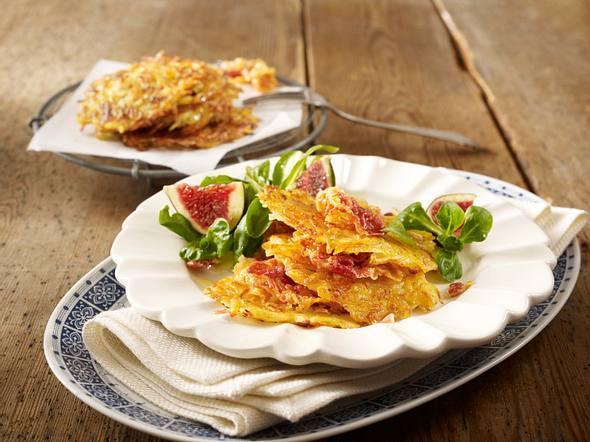 Kartoffel-Pastinaken-Rösti mit Pancetta und Salat Rezept