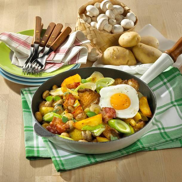 Kartoffel-Pfanne mit Pilzen Rezept