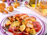 Kartoffel-Pfifferling-Salat zu gebratenem Hähnchenfilet Rezept