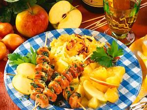 Kartoffel-Püree mit Wurstspießen Rezept