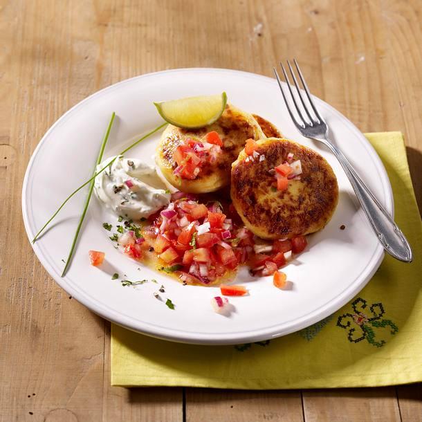 Kartoffel-Quark-Plinsen mit Salsa Rezept