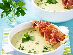 Kartoffelcreme-Suppe mit gebratenem Parmaschinken Rezept