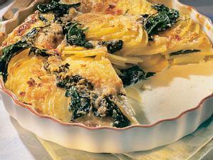 Kartoffelgratin mit Spinat Rezept
