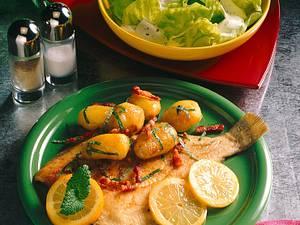 Kartoffeln, Scholle und Speck Rezept