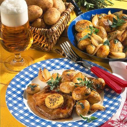 Kartoffelpfanne mit Schweinekoteletts Rezept