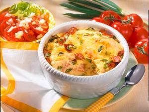 Kartoffelpüree-Fleischwurst-Auflauf Rezept