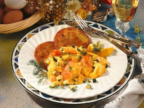 Kartoffelpuffer mit Rührei und Lachs Rezept