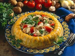 Kartoffelsavarin mit Tomaten- Pilzgemüse Rezept