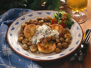 Kartoffeltaler mit Champignons Rezept