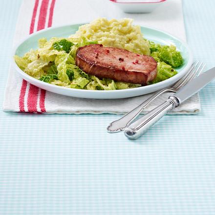 Kasseler mit Wirsing und Kartoffel-Meerrettich-Püree Rezept
