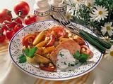 Kasselerkotelett mit Kartoffel-Tomaten-Gemüse Rezept