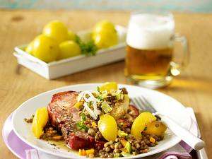 Kasselerkoteletts mit Sommerpflaumen-Linsen-Gemüse Rezept