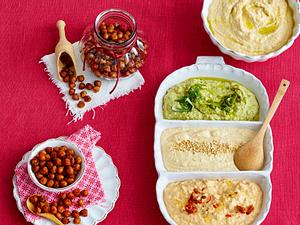 Kichererbsendip Hummus & dreierlei Variationen Rezept