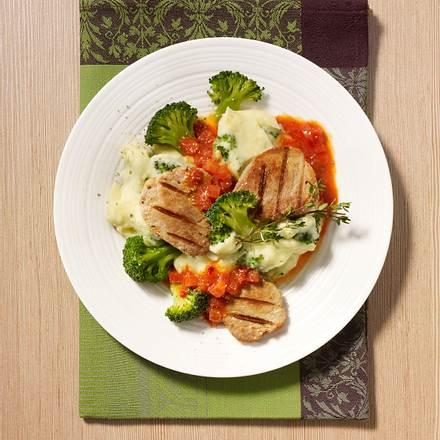 Kleine Filetschnitzel mit Brokkoli-Kartoffelpüree Rezept