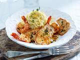 Kleine Schnitzel mit Garnelen zu Zitronenspaghetti Rezept