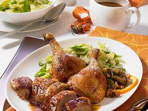 Knusprige Ente mit Pilzfüllung Rezept