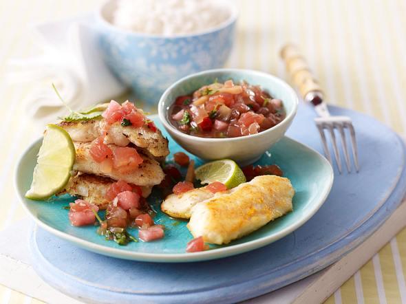Knuspriges Fischfilet mit Melonensalsa Rezept